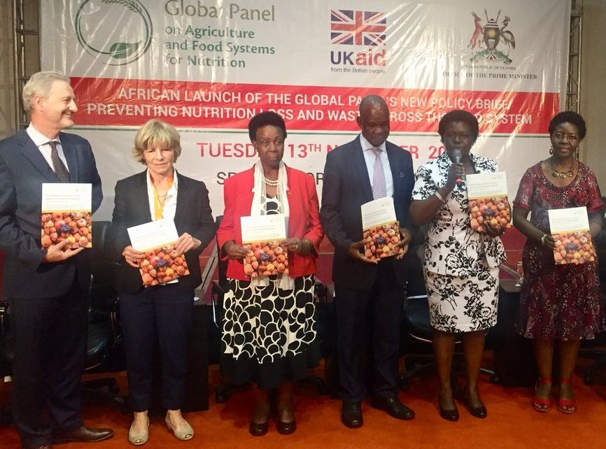 The experts during the launch of the policy brief on preventing Nutrient loss and Waste across the food System produced by the Global panel on Agriculture and Food System for Nutrition at the Speke Resort Munyonyo on Tuesday November 13