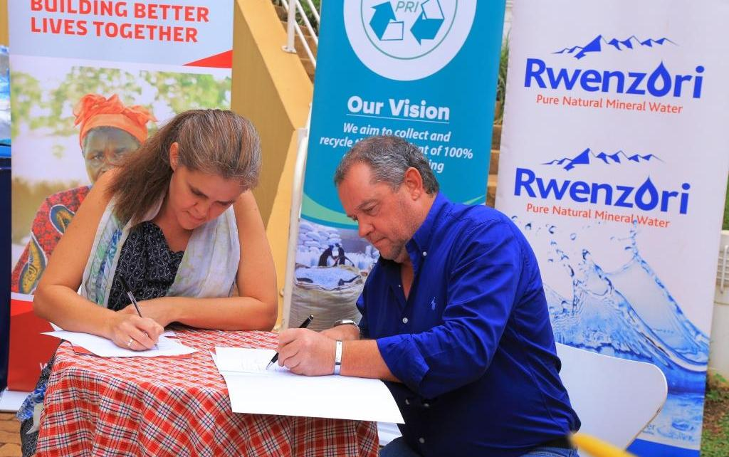 Head of Mission at the Embassy of Denmark Ms. Majbrit Holm Jakobsen and Mr. Conrad van Niekerk, the Managing Director of Century Bottling Company sign the MoU
