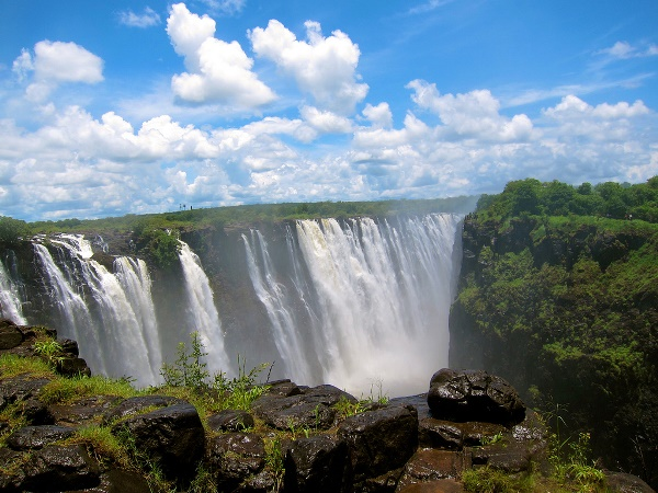 Victoria Falls in Zimbabwe and Livingstone Town in Zambia.
