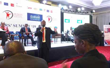 Entrepreneur Patrick Bitature speaking during the summit at Sheraton Kampala Hotel on February 20 2019