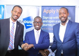Mr. Donato Laboke, the General Manager Marketing & Brand at Sanlam General Insurance, Mr. Walter Wafula, the Business Unit Head-PR, brainchild Burson Cohn & Wolfe (BCW) and Mr. Brian Ntambirweki, the Marketing Director, Virtual University of Uganda shaking hands at the sponsor announcement of the Third Edition of Innovation Series on 26th February 2019 at the brainchild offices in Kampala