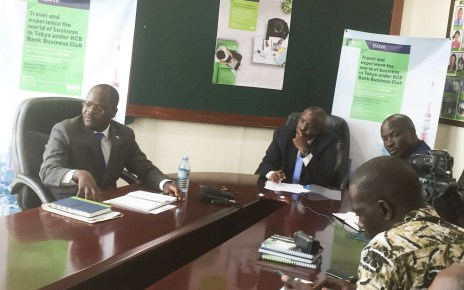 L-R Godfrey Ssenteza, KCB's senior manager SME, MD Edgar Byamah and Samuel Matekha address journalists during the launch of KCB's Trip to Tokyo.jpg