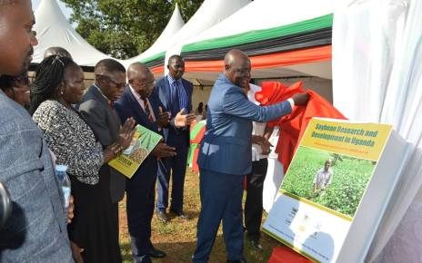 Agriculture, Animal Industry and Fisheries Minister Vincent Bamulangaki Ssempijja launching a new soybean variety (Maksoy 6N) developed by Makerere University at Kabanyoro Agricultural Research Institute in Wakiso District on February 22