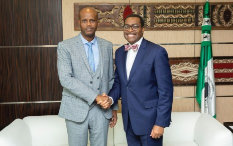 Mfumukeko met Dr Akinwumi A. Adesina on February 15at the AfDB headquarters in Abidjan, Ivory Coast.