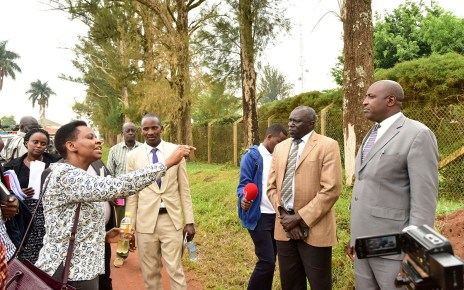 Lt. Col Edith Nakalema interfaces with Mbarara district leaders as she inspected some of the controversal plots of land under investigation by the anti corruption unit of State House over alleged corruption. Feb 22.
