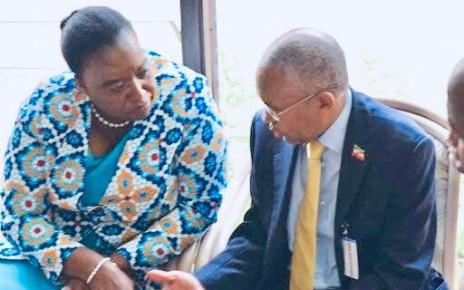 Kenya Foreign Affairs Cabinet secretary Dr Monica Juma and former Somaliland minister for foreign affairs Dr Saad Ali Shire talk in Nairobi last December