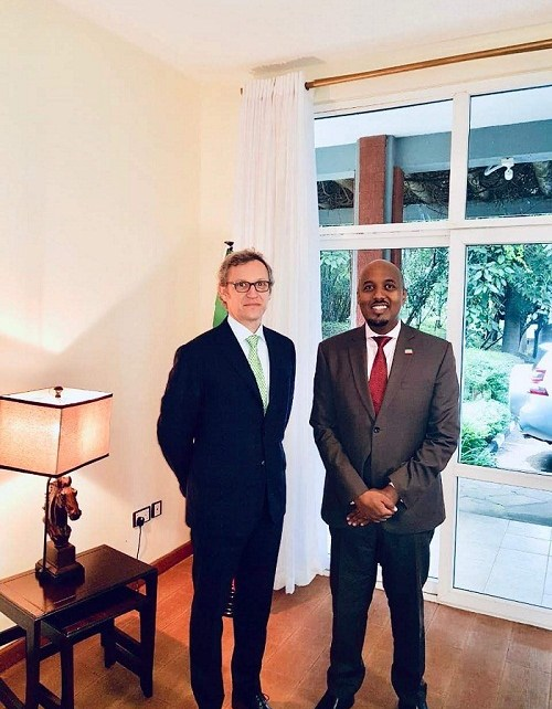 Somaliland ambassador to Kenya Bashe Omar met Switzerland head of Horn of Africa office Siro Beltrametti at the Somaliland embassy in Nairobi