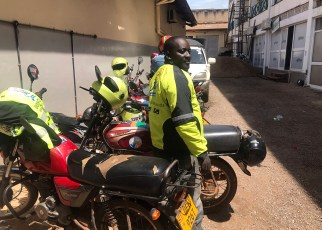 Hassan Lubega, a motorcyclist with Dial Jack, has managed to start his own business of a motor spare parts shop that earns him at least Shs1 million a month