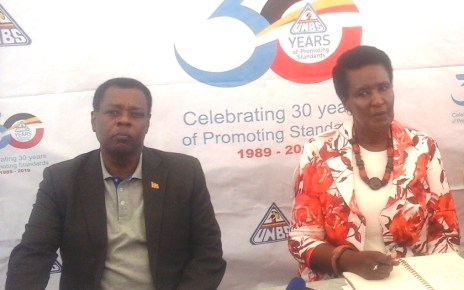 UNBS Executive Director Ben Manyindo and Minister of Trade Industries and Cooperatives Amelia Kyambadde during the event to mark 30 years of the agency