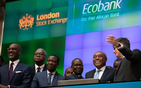 Ecobank Chairman Emmanuel Ikazoboh (2nd from left) opens the London Stock Exchange with Group CEO Ade Ayeyemi (3rd from left)