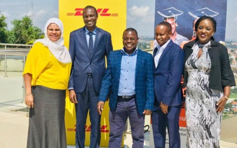 From L-R: Fatma Abubakar, Country Manager, DHL Express Uganda; Paul Erongot, Country Manager, DHL Global Forwarding Uganda; Zachary Mukwaya, General Manager, DHL Supply Chain Uganda; James Kassaga Arinaitwe, Co-founder and CEO, Teach for Uganda; Sheila Kangwagye, Board Member, Teach for Uganda.
