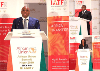 Clockwise: Afreximbank President Prof. Benedict Oramah, AU Trade Commissioner Amb. Albert Muchanga, and Rwanda Trade Minister Soraya Hakuziyaremye addressing guests at the launch of IATF2020 in Niamey.