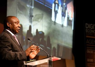 South African President Cyril Ramaphosa last week at the 4IRSA digital economy summit in Johannesburg