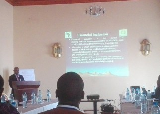 Ndimurirwo while making a presentation to media houses on financial inclusion and implementation of the 50 million African Women Speak Project.