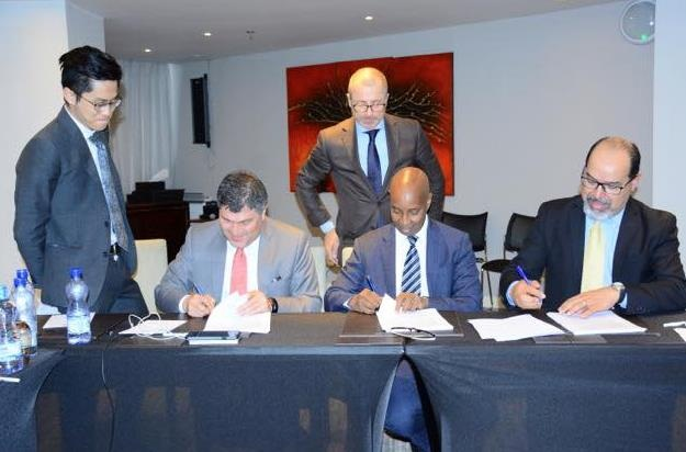 Somalia minister for Aviation, Mohamed Abdullahi Oomaar during the agreement signing.