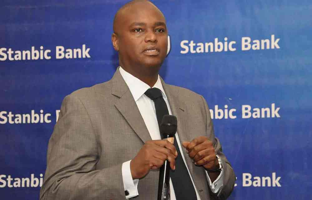 Stanbic Bank Chief Executive Patrick Mweheire, speaks during the release of the Half Year Results at Protea Hotel