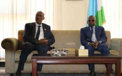 Somaliland president Muse Bihi (left) and his Djibouti counterpart