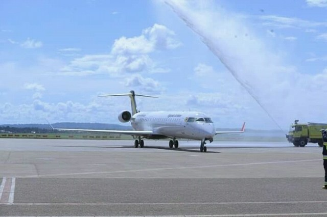 Uganda Airlines is the first African airline to fly Bombardier's CRJ900 aircraft, fitted with new Atmosphere cabin.