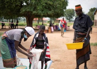 The Government of Uganda and the United Nations World Food Programme (WFP) are distributing take-home food rations to school children in the Karamoja sub-region in north-eastern Uganda to support home-learning while schools remain closed due to the COVID-19 outbreak across the country.