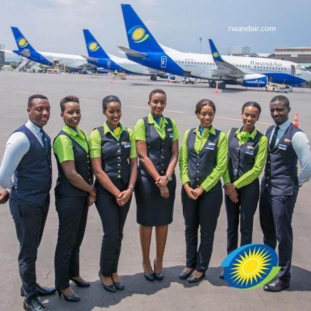 Rwanda Air staff at the airline hub at Kigali International Airport Kanombe.