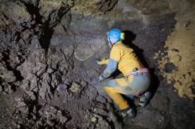 depositi piroclastici nella Sala della Targa in fondo al Ramo Trevisiol (foto Sandro Sedran S-Team)