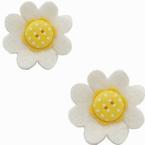 ba01b3e05b3 Bustle clips in white flower with bright yellow polka dot center