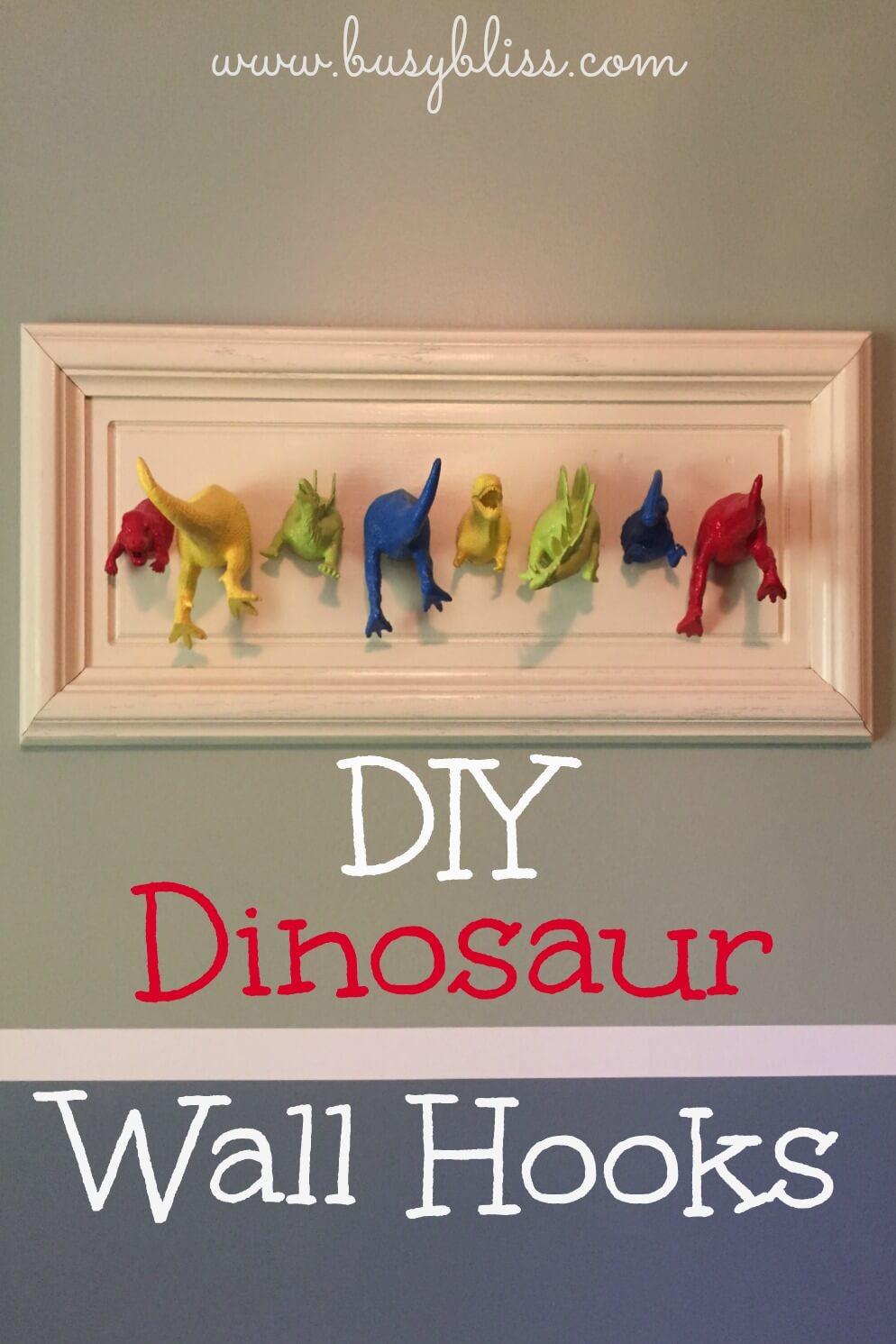 DIY Dinosaur Wall Hooks - Busy Bliss