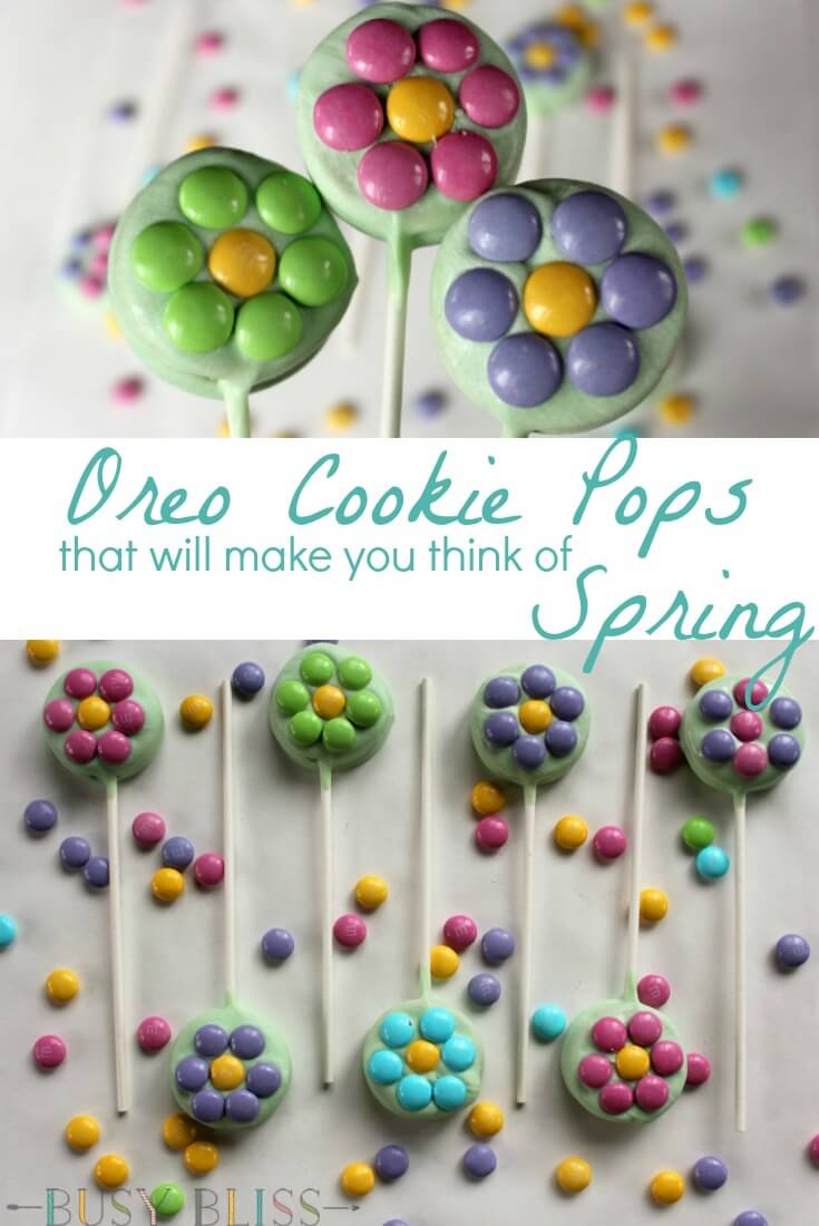 Oreo cookie pops are a fun treat that are simple to make. With just a few ingredients, make your own spring cookie pop flower bouquet.