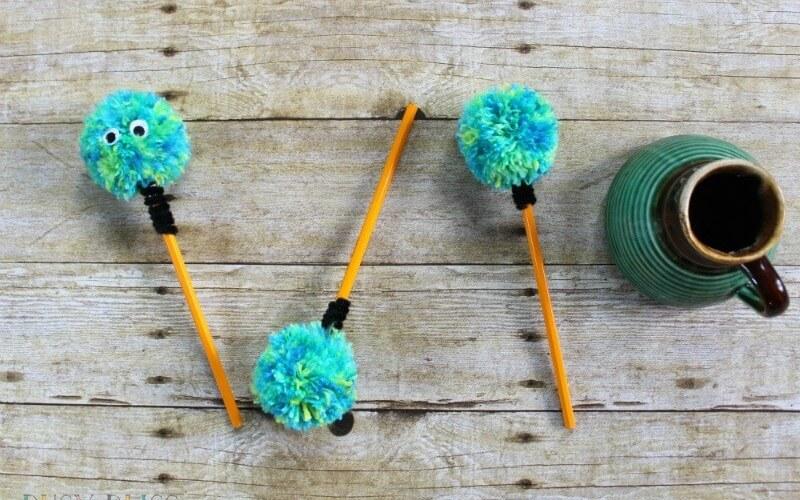 Fun Back to School Crafts: How to Make Pom Pom Pencils
