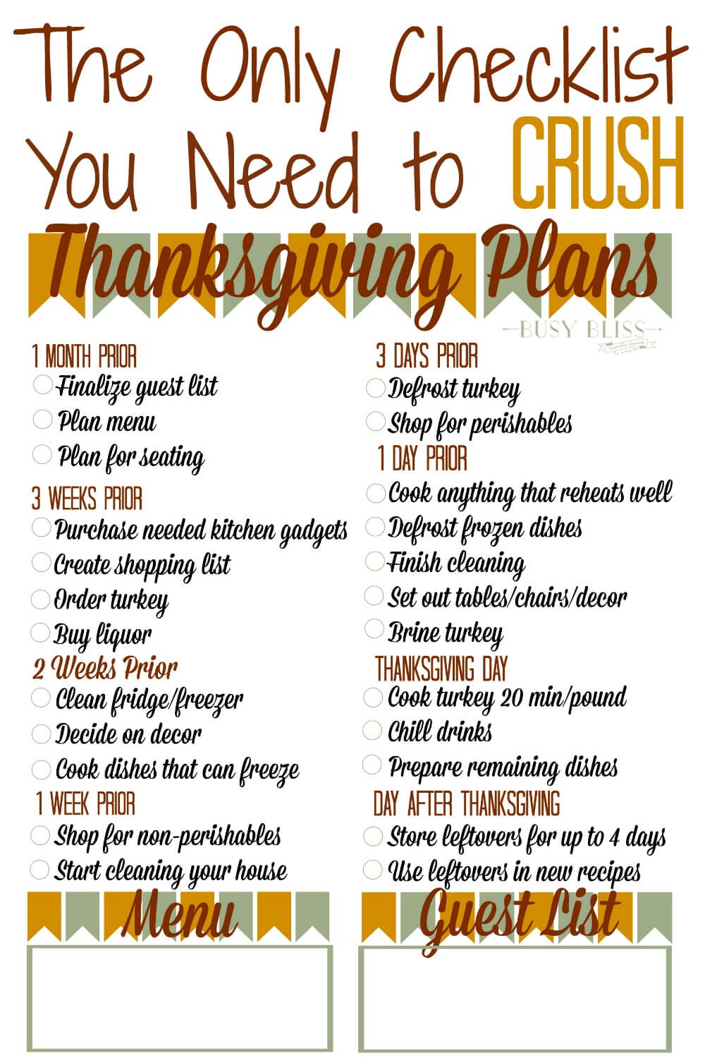 The Thanksgiving Countdown Is On Grab Your Thanksgiving Planner Checklist And Plan Ahead With Tips
