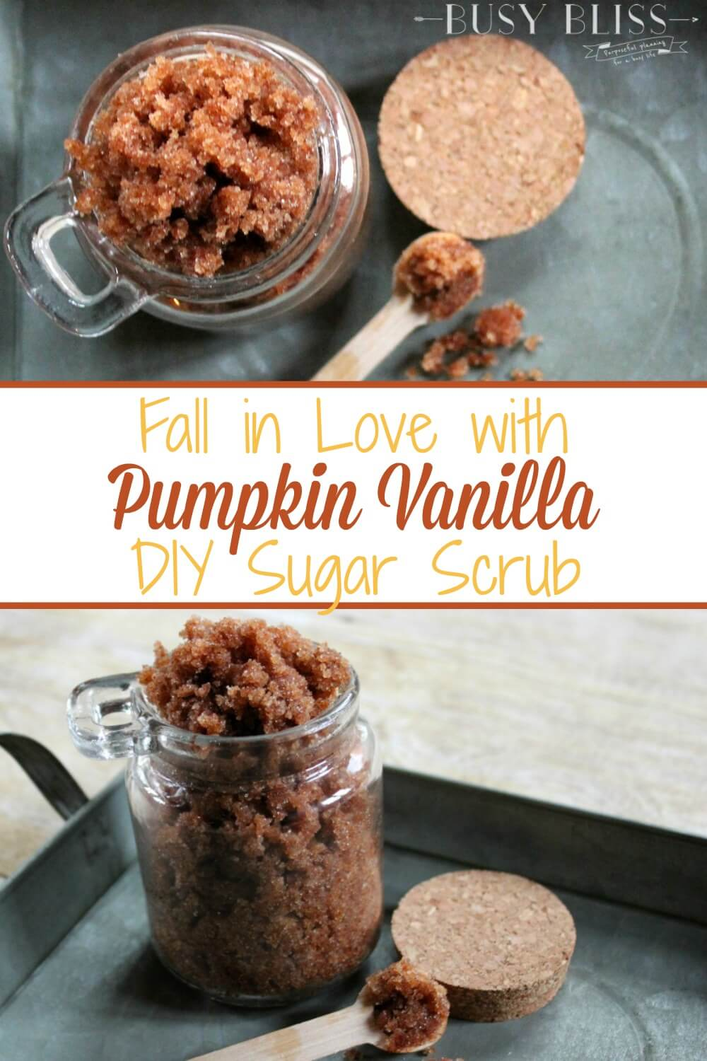 If you're looking for easy homemade gift ideas, Pumpkin Vanilla DIY sugar scrub is it! Made with vanilla, coconut oil, and pumpkin spice, it is a great way to treat those on your Christmas list to a spa experience without the spa price. Use it as a body scrub for exfoliating dry skin or as a simple facial. It's great for teacher gifts, hostess gifts, or as an addition to your self-care routine.