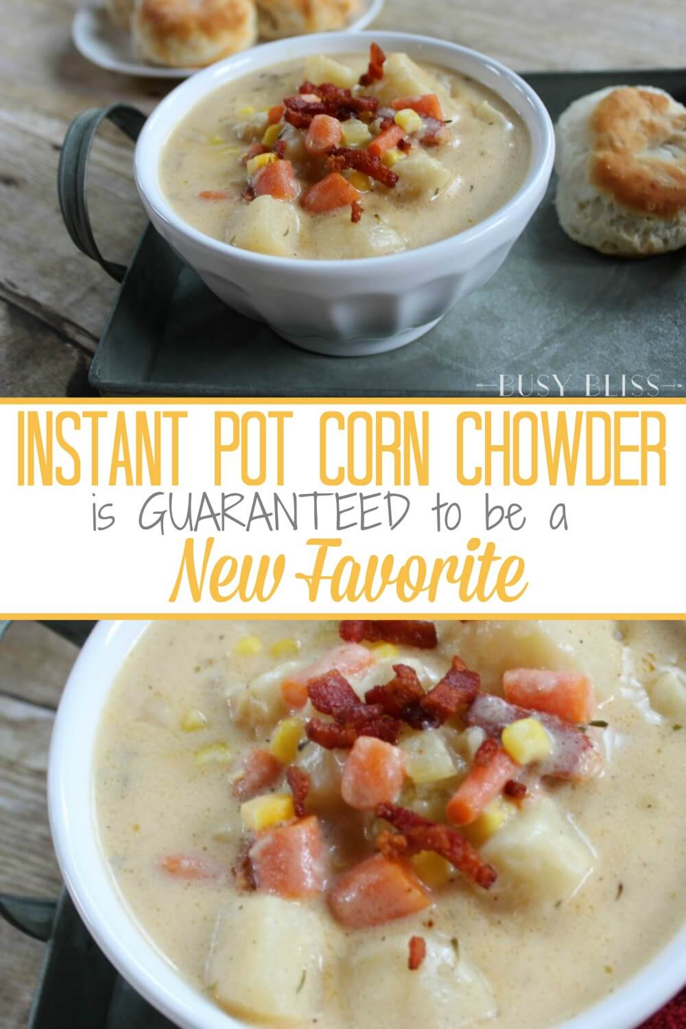 Instant Pot Corn Chowder is an easy, creamy soup recipe with chunks of potato and carrot. The pressure cooker makes it so simple to make this delicious soup your family is sure to love!