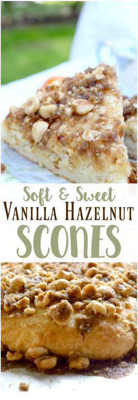 These vanilla hazelnut scones are soft, sweet, and fluffy! Perfectly paired with a hot cup of coffee and a good book.
