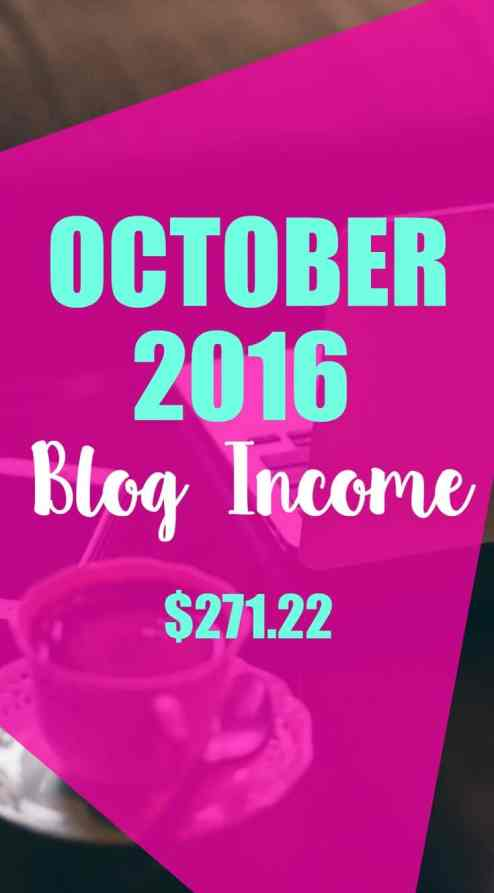 October 2016 online income.