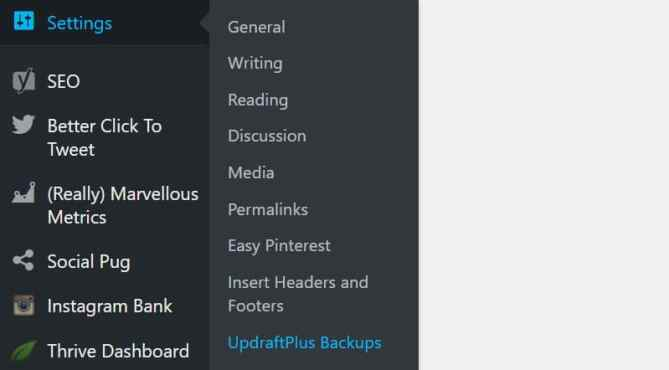Settings UpdraftPlus Backups