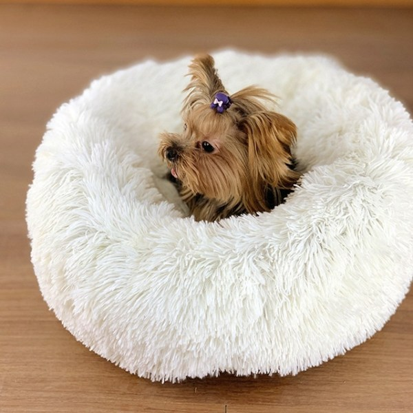 Calming Dog Pet Bet Anti-Anxiety Soothing Cat Beds White With Model