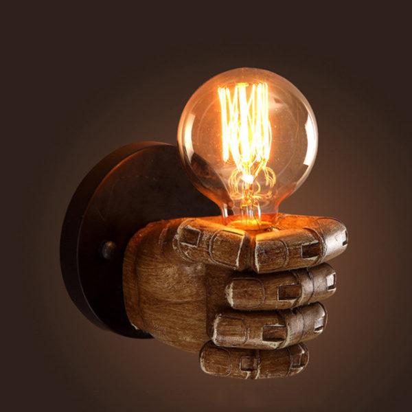 Wooden Fist Wall Light Fixture Lamp Left Round Bulb