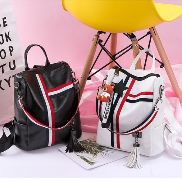 Alexandra Leather Backpack Purse Anti-Theft Convertible Bag - White and Black