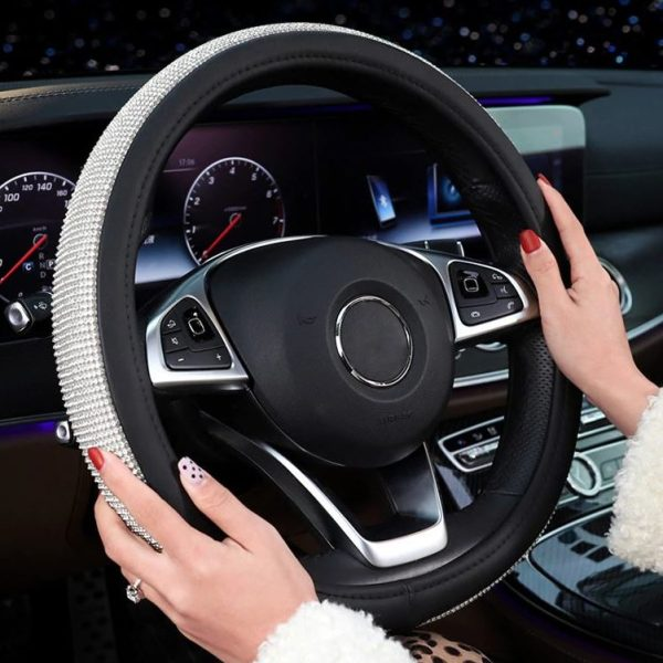 Crystal Steering Wheel Cover - Black Primary with Model