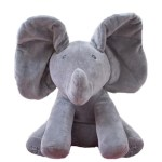 Singing Peek A Boo Elephant Plush Toy Grey