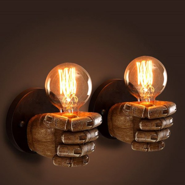 Wooden Fist Wall Light Fixture Lamp 2 pieces