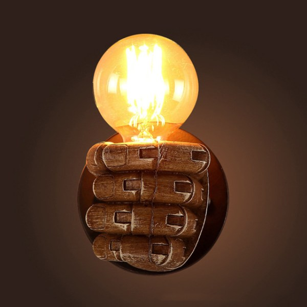 Wooden Fist Wall Light Fixture Lamp Close Up