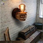 Wooden Fist Wall Light Fixture Lamp