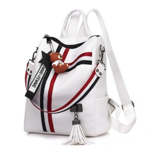 Alexandra Leather Backpack Purse Anti-Theft Convertible Bag - White Angled
