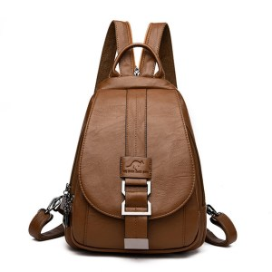 Leather Convertible Backpack Purse Anti Theft Crossbody Bag Brown