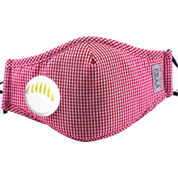 Reusable Face Mask Antibacterial Virus Protection Mask Red Checkered