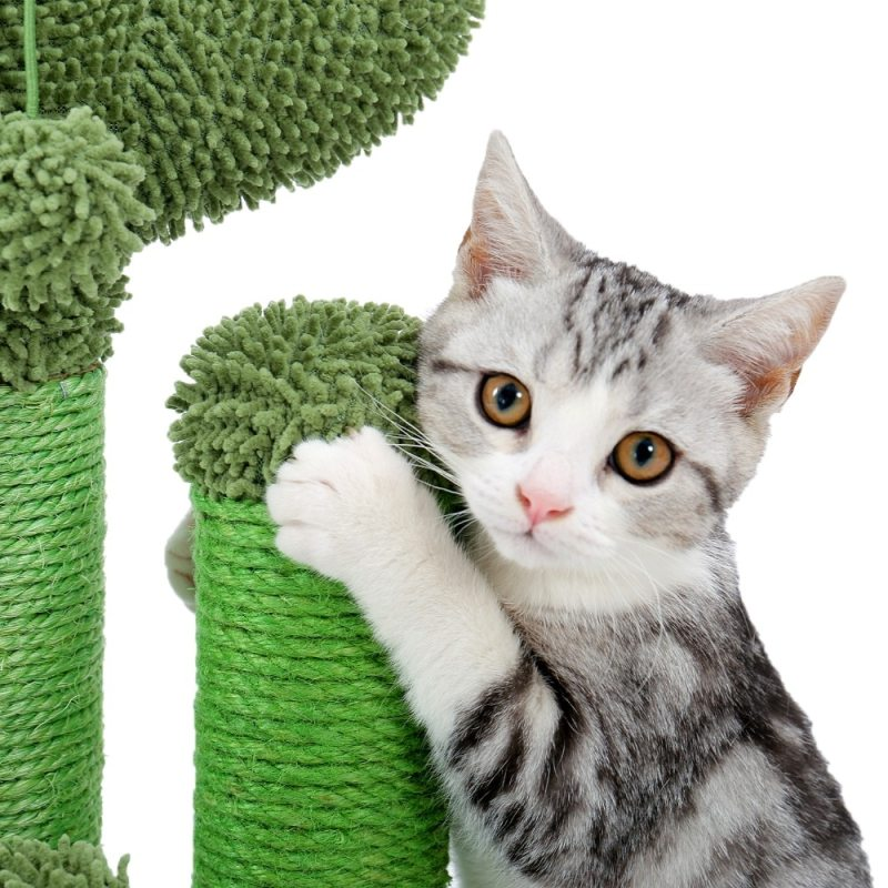 Cactus Cat Scratching Post with White Cat Model Scratching Close Up