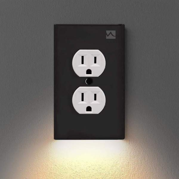 Wall Plate Outlet LED Night Light Black Duplex Plate