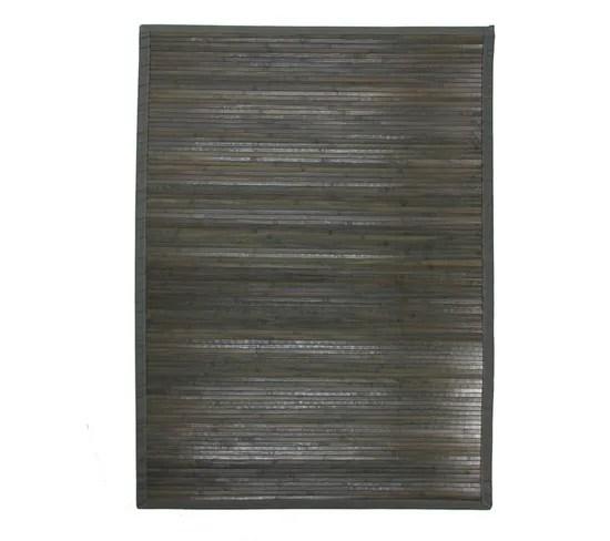 tapis en bambou larges lattes et ganse gris 160x230 solo bamboo