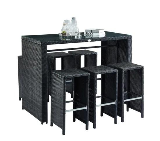 salon de jardin en resine tressee noire ikaria avec table haute et 6 tabourets de bar